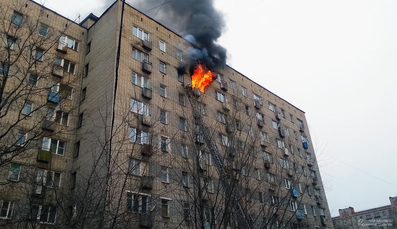 Пожар на Карякинской в Рыбинске