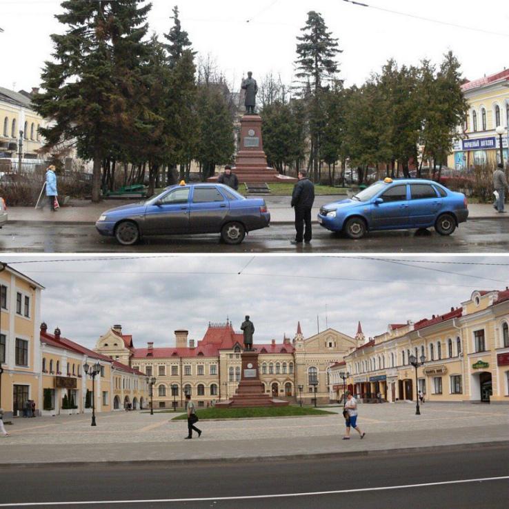 Красная площадь до и после